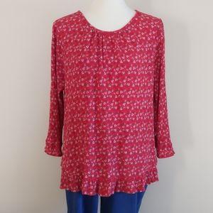 Gap Floral Shirt Ruffle Hem and Sleeves - Size XLT